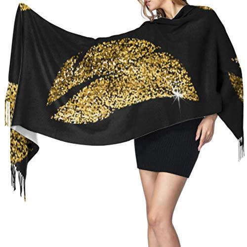 Bunter goldener Retro-Schal mit Feder und Blume, Unisex, 196 x 68 cm, groß, weich, Pashmina, extra warm