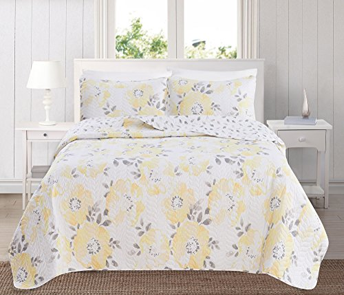 Great Bay Home 3-Piece Reversible Quilt Set with Shams. All-Season Bedspread with Floral Printed Pattern in Bright Colors. Helene Collection Brand. (Full/Queen, Yellow)