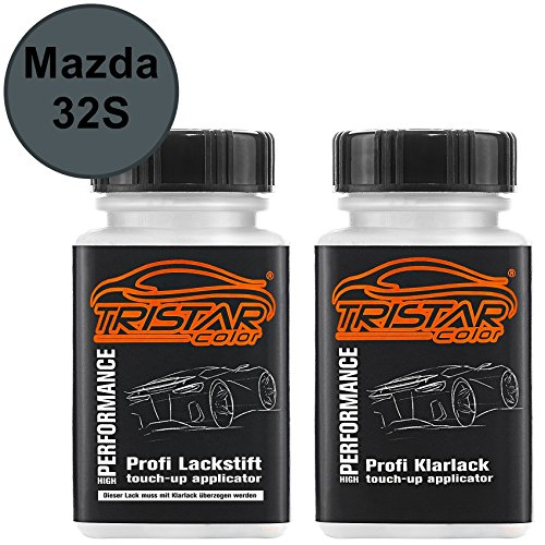 TRISTARcolor Autolack Lackstift Set für Mazda 32S Galaxy Grey Perl/Mephistograu Metallic Basislack Klarlack je 50ml