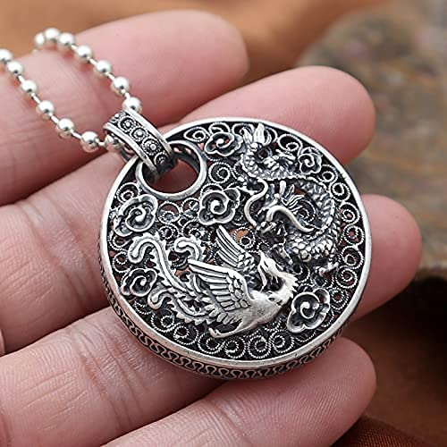 AMOZ Fashion925 Sterling Silver Couleur Phoenix Pendentif Dragon Animal Bonne Chance S990 Solide Thai Argent Couleur Pendentifs Pour Femmes Hommes Bijoux,Blond Clair
