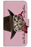with NYAGO 手帳型 ケース レザー 厚手タイプ SIMフリー ZTE Axon 10 Pro 5G (902ZT) カウボーイ ソラちゃん 肉球をペロペロするにゃー。 かわいい猫フェイス手帳 7037 スウィート ピンク