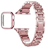 OLBGELYING Diamond Case + Band pour Apple Watch 6 5 4 3 2 1 Bande 44mm 40mm 40mm 42mm 38mm 38mm Dame...