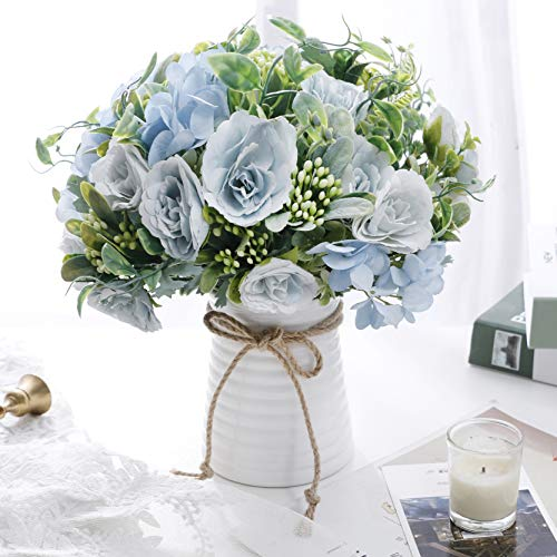 NAWEIDA Artificial Flowers in Vase Faux Flower Arrangements for Table Decor Centerpieces for Dining Room Table