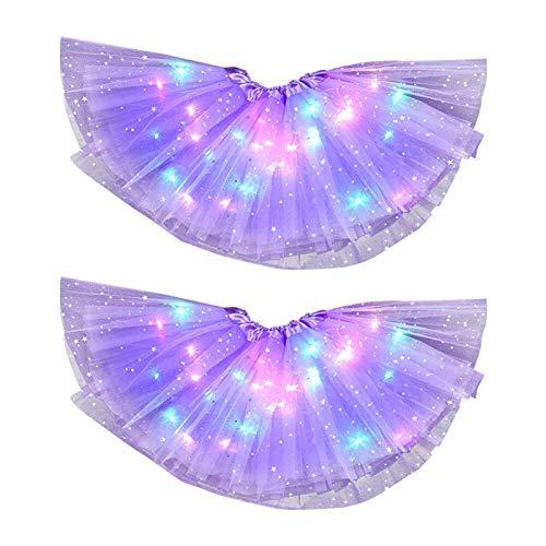 Amusingtao Falda tutú para niñas, Falda tutú con Luces LED para niñas, 2 Piezas de Vestido con Lentejuelas de Estrellas con Luces LED, Vestido Corto de Baile Colorido para Fiestas de Navidad
