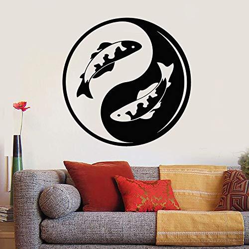 Tianpengyuanshuai Yin Yang Wandtattoo Koi Fisch Zen asiatischen Stil Schlafzimmer Meditation Raumdekoration Vinyl Fenster Aufkleber Tapete 102x102cm