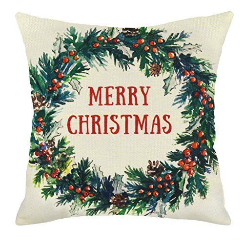 MENOLY Christmas Pillow Cover Merry Christmas Berry Wreath Throw Pillow Cover Cotton Linen Pillow Cases Cushion Couch Covers Throw Pillow Case 18 x 18 Inch for Christmas Decorations