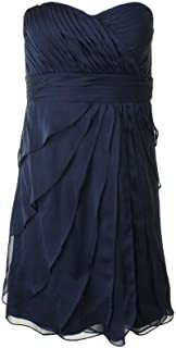 Short Irri Chiffon Strapless Tiered Midnight Evening Dress