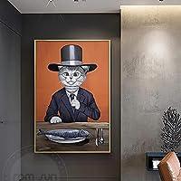 アートポスターキャンバスキティキャップスーツとドレス壁の写真ポスターとプリント家の装飾50x70cmフレームなし