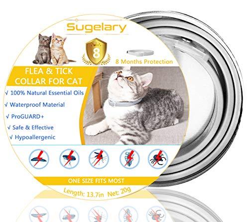 Sugelary Collar Antiparasitario para Mascotas Gatos Plagas Repelentes para Mascotas Agregado con Aceites Naturales, Tamaño Ajustable e Impermeable, Detiene Mordeduras y Picazón (1)