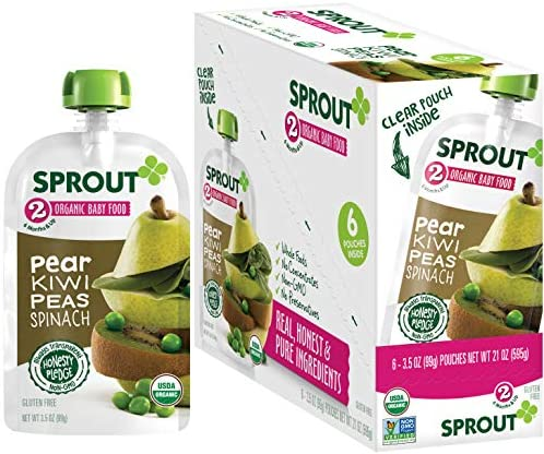 Sprout Organic Baby Food Stage 2 Pouches Fruit Veggie Blend Pear Kiwi Peas Spinach 3 5 Oz Purees product image