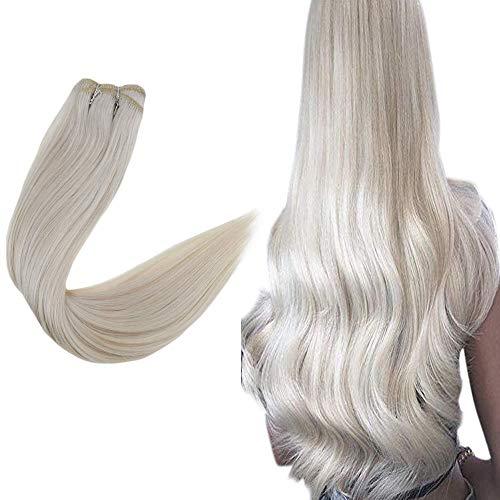 Easyouth HaarverlangerungTressenEchthaar 22 Zoll Langes Haar 100g / Paket - #1000 White Blonde Eisblond Sew in Hair Extensions Kein Gespaltenes Haar