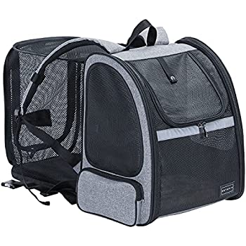 Petsfit Expandable Cat Carrier Backpack,Dog Carrier Backpack with Great Ventilation,Fleece Mat and Portable Pet Travel Backpack for Hiking,Camping Hold Pets Up to 18 lbs