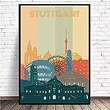 VVSUN Stuttgarter Stadt Retro Stadtbild Leinwand Wandkunst
