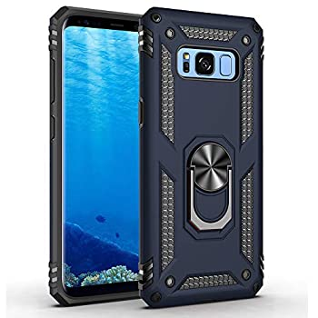 Military Grade Drop Impact for Samsung Galaxy S8 Plus Case Galaxy S8+  360 Metal Rotating Ring Kickstand Holder Built-in Magnetic Car Mount Armor Shockproof Case for Galaxy S8+ Phone Case  Blue