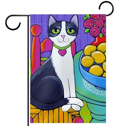Bandera de jardín de bienvenida (30,5 x 45,7 cm) de doble cara vertical patio decoración al aire libre, gato sentado en limones de mesa
