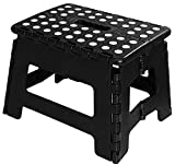 Utopia Home Foldable Step Stool - 11 Inches Wide and 8 Inches Tall - Holds Up to 300 lbs - Lightweight Plastic Design (Black, Pack of 1)