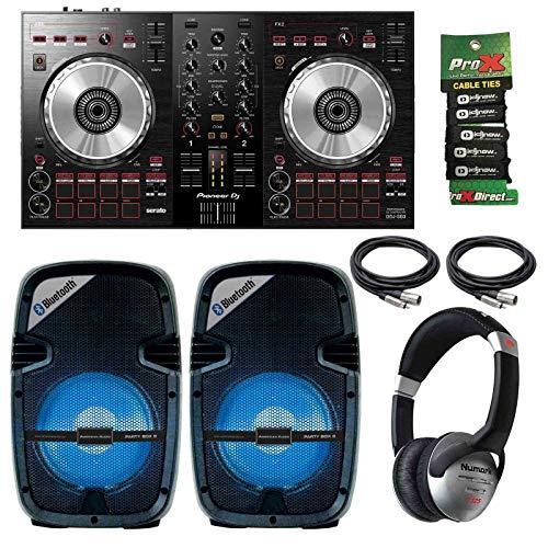 Review Pioneer DDJ-SB3 Portable Serato DJ Controller + LED Light Show 8 Speaker Pair