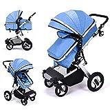 Cochecito de bebé de alta vista, dos vías sentado y plegable, cómodo y duradero con bolsa para mamá y cubierta para la lluvia azul azul