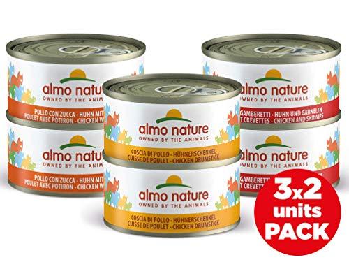almo nature Multipack -Ricette assortite al Pollo Confezione da 6 lattine da 70g - Cibo Umido Naturale per Gatti Adulti