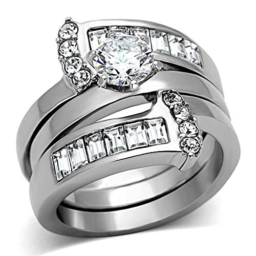 Marimor Jewelry Women's Round Cut Silver Stainless Steel AAA Cz Wedding Ring Band Set Size 8