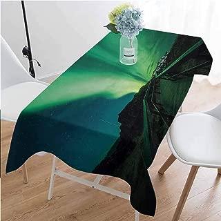 GloriaJohnson Northern Lights Washable Long Tablecloth Wooden Bridge Solar Sky Scenic Radiant Rays Arctic Magic Scenery Dinner Picnic Home Decor W52 x L70 Inch Fern Green Dark Blue