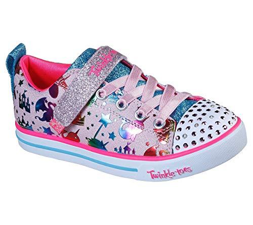 Skechers Kids Girls Twinkle Toes Sneaker, Light Pink/Multi