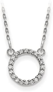 9mm 14ct White Gold Diamond Open Circle Necklace