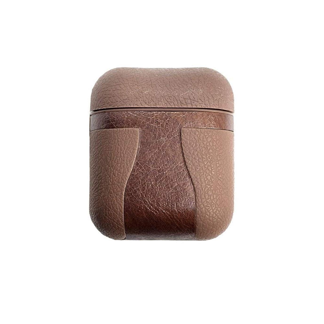 トンから聞くスラックSHENGSHIHUIZHONG ワイヤレスBluetoothヘッドセット用Airpodsレザーケース、保護ケース、レザーTpuイヤホンカバー (Color : Brown)