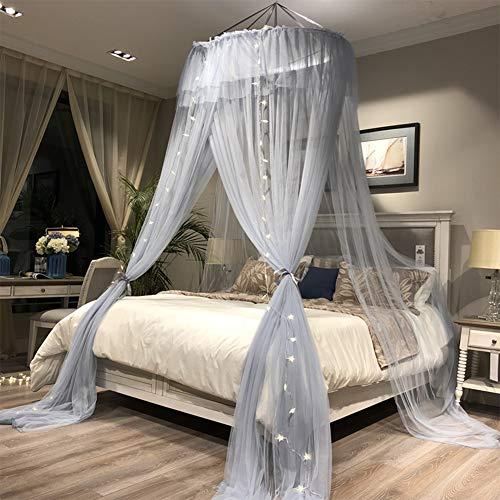 Wenset Princess Romantisch Moskitonetz, 45 D 3 eröffnung Dekoration Bett baldachin Mit 1 Haken Doppelbett Insektenschutznetz Einfache installation-Grau blau 4-7 ft bett