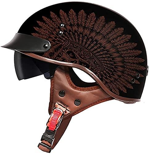 Casco De Motocicleta Con Visera,Casco Jet Para Moto Vintage Casco Medio Certificado ECE Hombres Y Mujeres Retro Seguridad Ligera Eléctrico Medio Casco Estilo Retro ( Color : L , Size : XXL = 63cm )