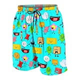 Ba-Ttle for Bfdi Stationery Graphics Board Shorts for Teens Boys Girls with Pockets Blue