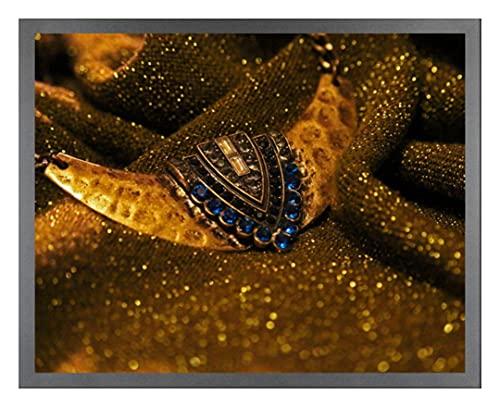 Bilderrahmen Saphir 36x50 cm Grau mit klarem Kunstglas für Poster Puzzle Diamond Painting