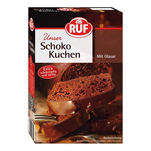 RUF Schokoladen-Kuchen Backmischung mit Kakao-Glasur extra schokoladig und saftig, 1er Pack (1 x 475 g)
