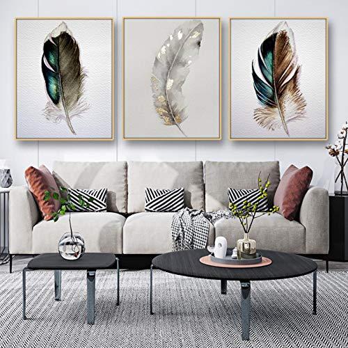 Silver Feather Art Leinwand PosterWandkunstGemälde Wandbild für Wohnzimmer Dekor PosterPrint Modern Home Decoration-50X70CMX3 rahmenlos