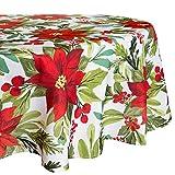 Mantel de Navidad redondo de poliéster, 177,8 cm, redondo, color rojo