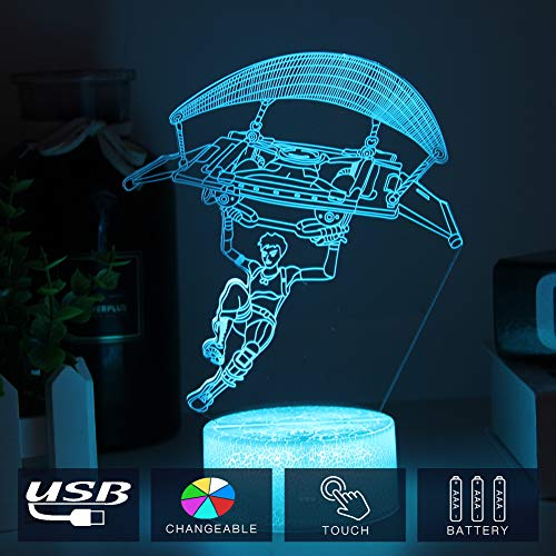 Gliding Skins New 3D Illusion Light Battle Bus RGB Mood Lamp 3D LED Lamp 7 Colors Touch Switch Table Desk Light Room Lighting Game Gifts (Gliding Crackle Base)