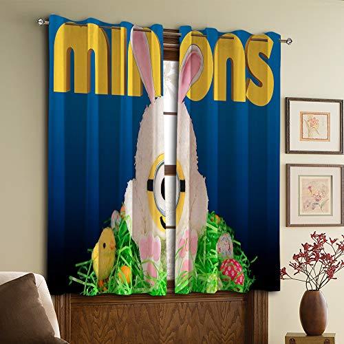 Gardinen für Wohnzimmer Minions Dämmung Verdunkelungsvorhänge W42 x 63 L