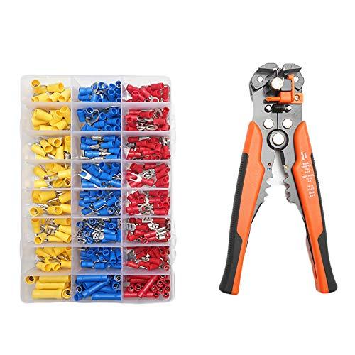 Abisolierzange, Multifunktions-Abisolierwerkzeug, automatische Drahtschneider, Schneidzange mit 400pcs Kabelschuhen, Drahtzangen-Set für Kabel
