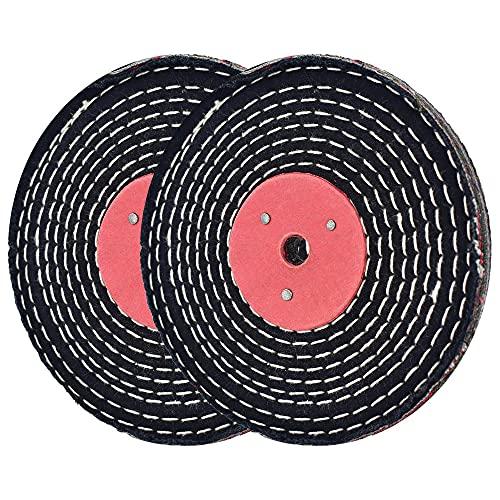 Rueda de pulido vaquera cosida en espiral, 6 pulgadas para lijadora de mesa con orificio de 1/2 pulgadas de grosor de 1/2 pulgadas, 2 unidades