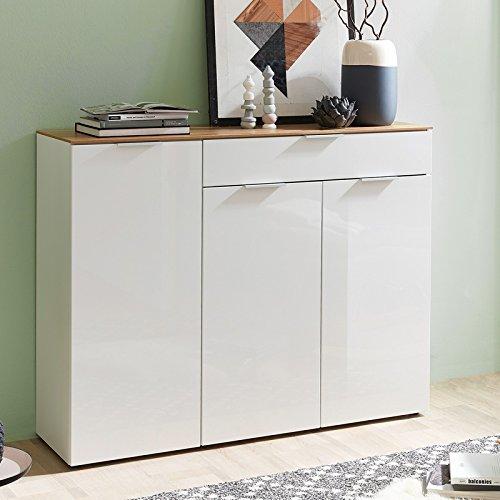 Sideboard VICTORIA-01 Hochglanz weiß, Navarra Eiche, 3 Türen und 1 Schubkasten, B x H x T 135 x 105 x 40 cm