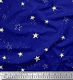 Soimoi Blau Seide Stoff Weiß Star Dekor Stoff gedruckt 1