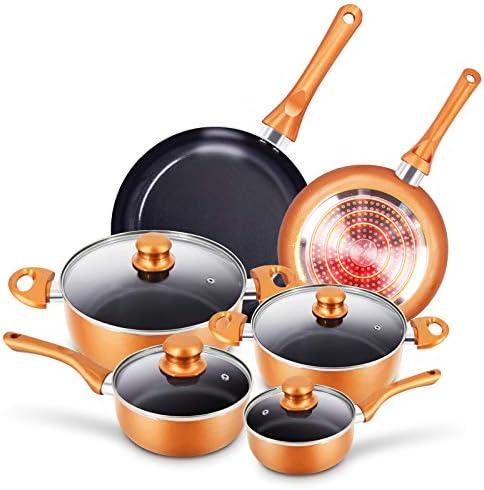 10pcs Cookware Set Non stick Frying Pans Set Ceramic Coating Soup Pot Milk Pot Copper Aluminum product image