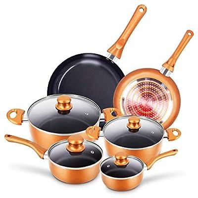 10pcs Cookware Set Non-stick Frying Pans Set Ce...