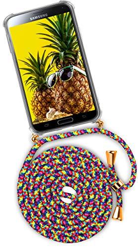 ONEFLOW® Handykette kompatibel mit Samsung Galaxy S5 - Handyhülle mit Band zum Umhängen Case Abnehmbar Smartphone Necklace - Hülle mit Kette, Bunt/Regenbogen