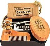 Kit Cuidado Barba - Regalos para Hombres con barba - Cepillo Barba + Peine Barba + Tijeras Barba + Bolsa de viaje + Caja de regalo - Regalos originales para hombre - Presente perfecto por KOGAION UK
