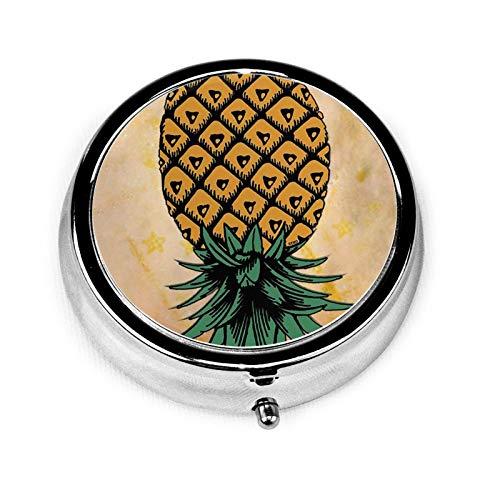 MSACRH Round Pill Box, Pineapples Upside Downs Pill Case Portable 3 Compartment Medicine Case Mini Travel Pill Vitamin Decorative Box for Men Women