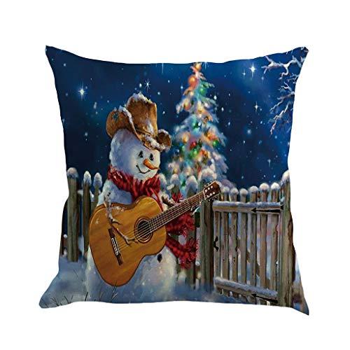 Cuteelf Christmas Pillow Case Decoration Sofa Mat Set 45x45cm Christmas Linen Pillow Case Decoration Sofa Cushion Cover Living Room Decoration Car Home Decoration Festival