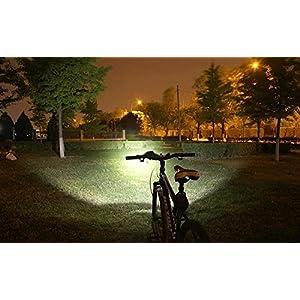 LED Luz Blanco Camping,Linterna LáMPARA para bicicletas bici CREE XM-L U2 - Luz LED frontal para manillar de bicicleta (2 focos, 5000 Lumens, 4 modos) con Llavero Linterna