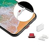 Sakula iPhone Lightning コネクタ用 保護キャップ アルミ iPhone X/iPhone 8P/iPhone7など Lightningコネクタキャップ 3個セット(1レッドと2クリア)