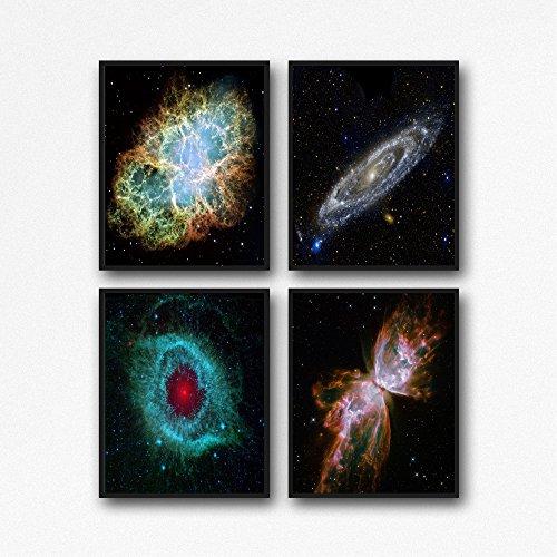 Wallbuddy Nebel-Poster 4er Set Hubble-Teleskop-Nebel Weltraum Drucke Andromeda Hubble-Poster Galaxie-Poster Nebel Geschenk Nebel-Dekor Nebel Kunst (21x30cm (A4))
